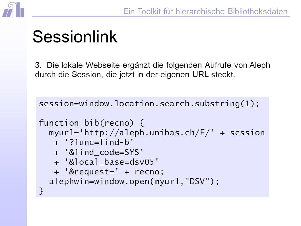 Ein Toolkit für hierarchische Bibliotheksdaten Sessionlink 3.
