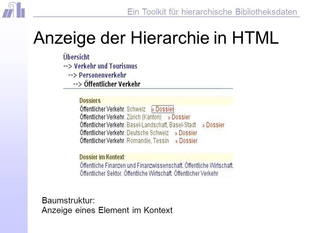 Ein Toolkit für hierarchische Bibliotheksdaten Anzeige der Hierarchie in HTML Baumstruktur: Anzeige eines Element im Kontext