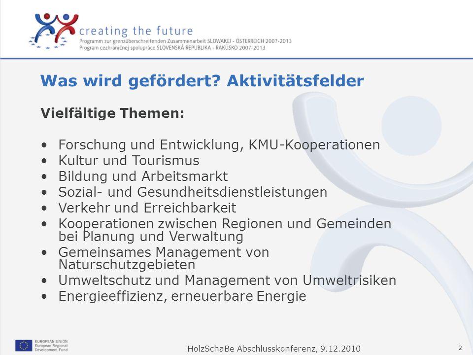 HolzSchaBe Abschlusskonferenz, 9.12.2010 2 Was wird gefördert? Aktivitätsfelder Vielfältige Themen: Forschung und Entwicklung, KMU-Kooperationen Kultu