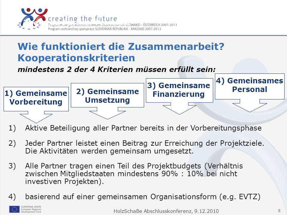 HolzSchaBe Abschlusskonferenz, 9.12.2010 5 1)Aktive Beteiligung aller Partner bereits in der Vorbereitungsphase 2)Jeder Partner leistet einen Beitrag