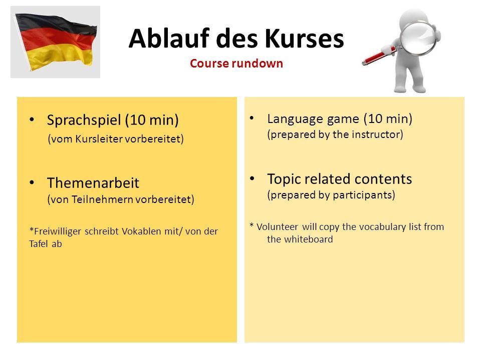 Sprachspiel (10 min) (vom Kursleiter vorbereitet) Themenarbeit (von Teilnehmern vorbereitet) *Freiwilliger schreibt Vokablen mit/ von der Tafel ab Lan