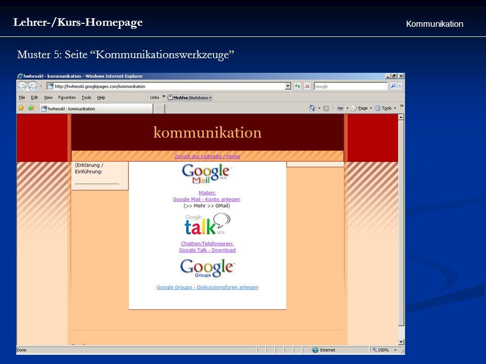 Lehrer-/Kurs-Homepage Kommunikation Muster 5: Seite Kommunikationswerkzeuge