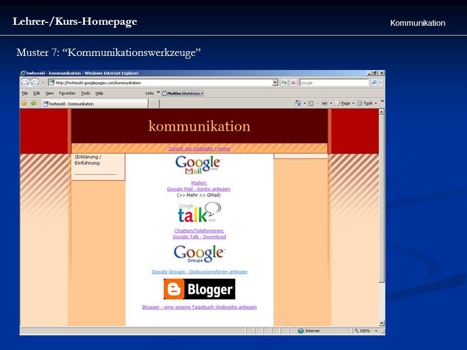 Lehrer-/Kurs-Homepage Kommunikation Muster 7: Kommunikationswerkzeuge