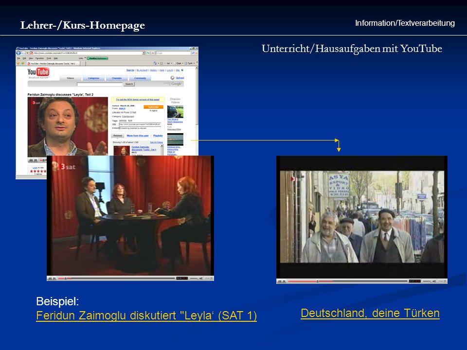 Lehrer-/Kurs-Homepage Information/Textverarbeitung Unterricht/Hausaufgaben mit YouTube Beispiel: Feridun Zaimoglu diskutiert