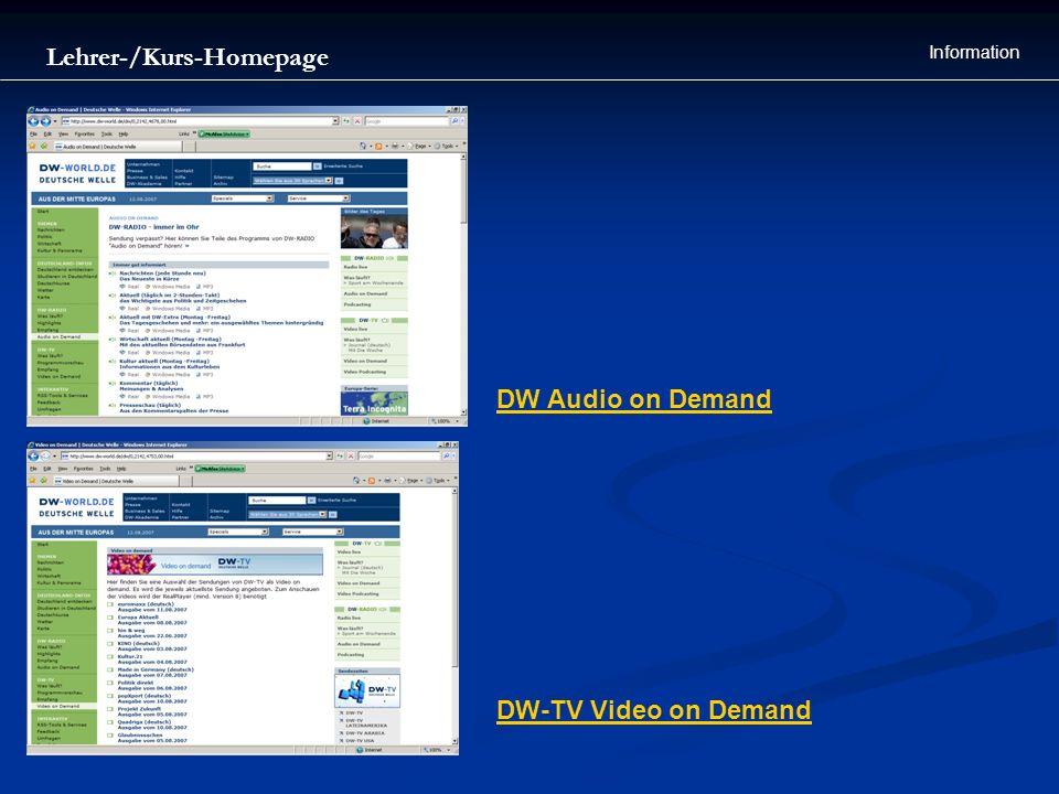Lehrer-/Kurs-Homepage Information DW-TV Video on Demand DW Audio on Demand