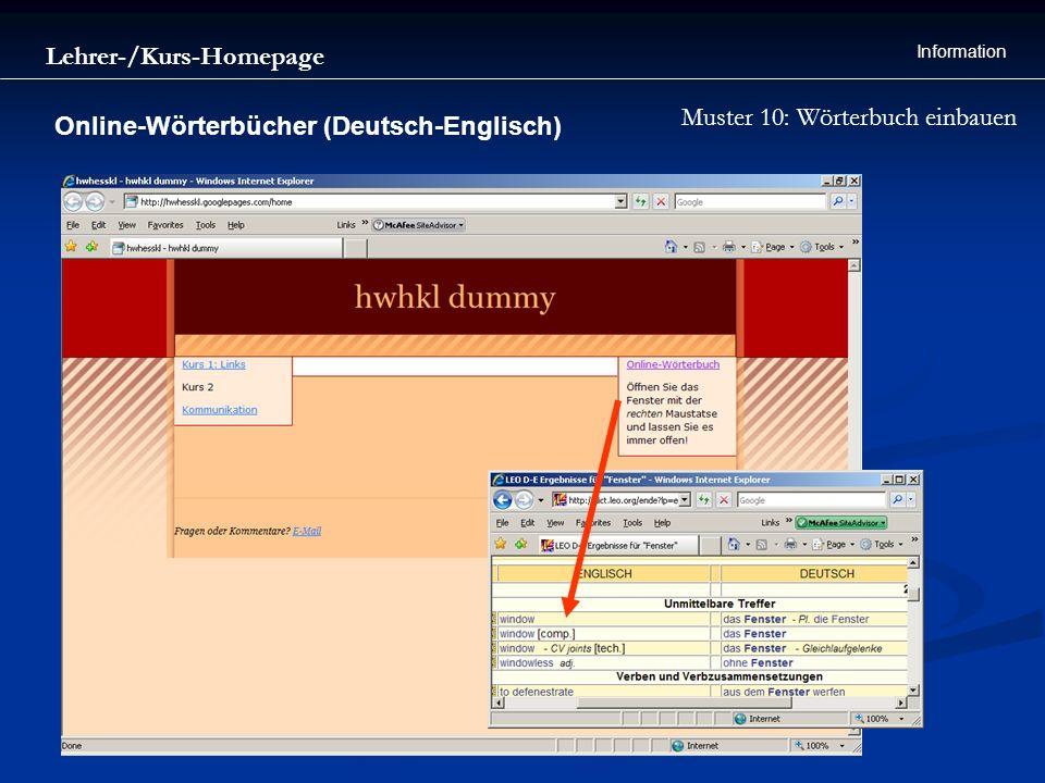Lehrer-/Kurs-Homepage Information Muster 10: Wörterbuch einbauen Online-Wörterbücher (Deutsch-Englisch)
