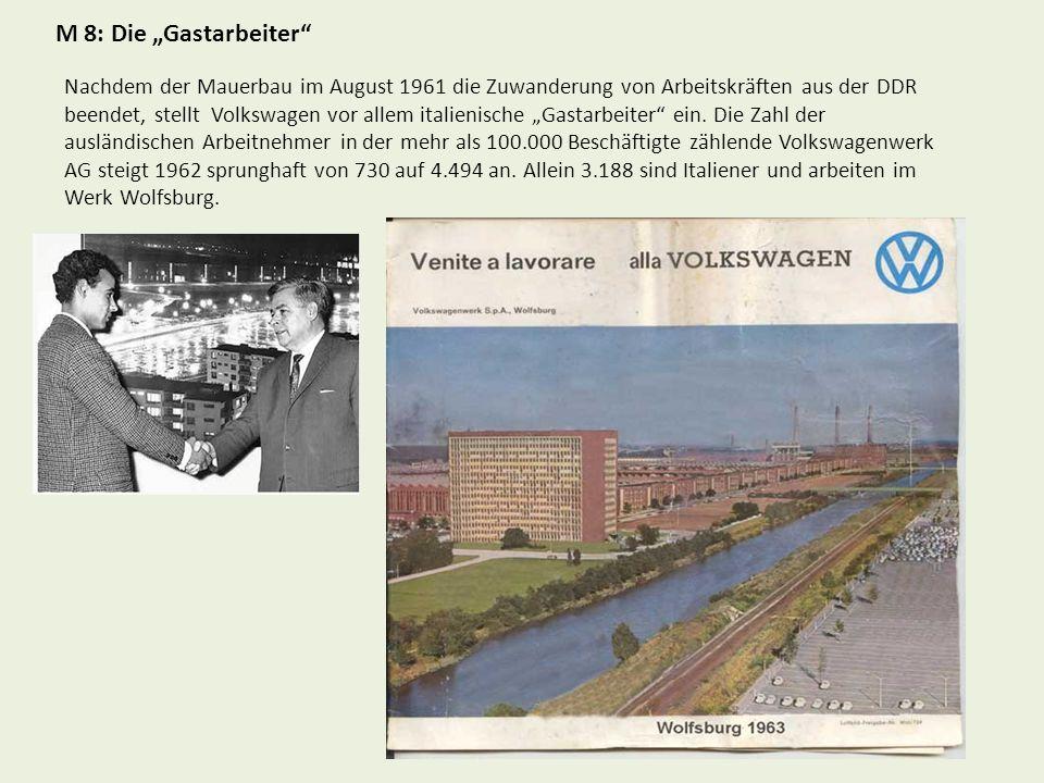 M 8: Die Gastarbeiter Nachdem der Mauerbau im August 1961 die Zuwanderung von Arbeitskräften aus der DDR beendet, stellt Volkswagen vor allem italienische Gastarbeiter ein.