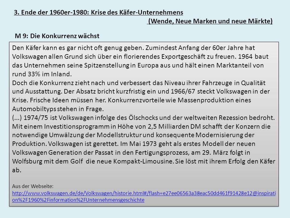 3. Ende der 1960er-1980: Krise des Käfer-Unternehmens (Wende, Neue Marken und neue Märkte) Den Käfer kann es gar nicht oft genug geben. Zumindest Anfa