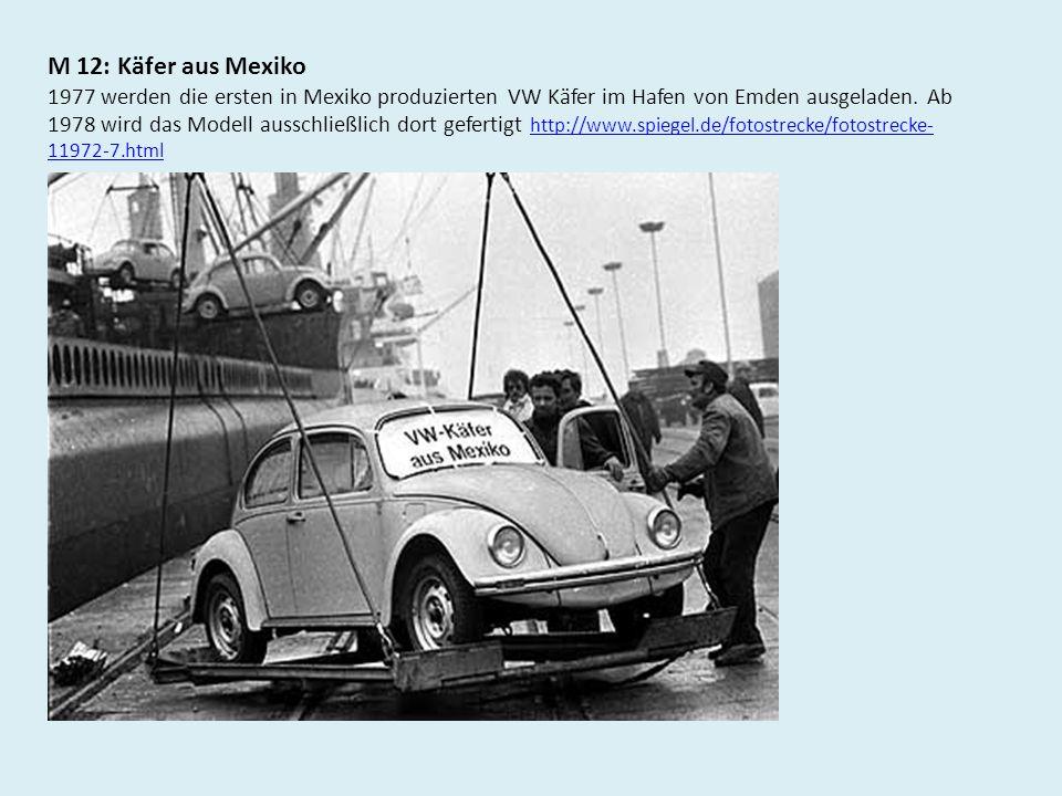 M 12: Käfer aus Mexiko 1977 werden die ersten in Mexiko produzierten VW Käfer im Hafen von Emden ausgeladen. Ab 1978 wird das Modell ausschließlich do
