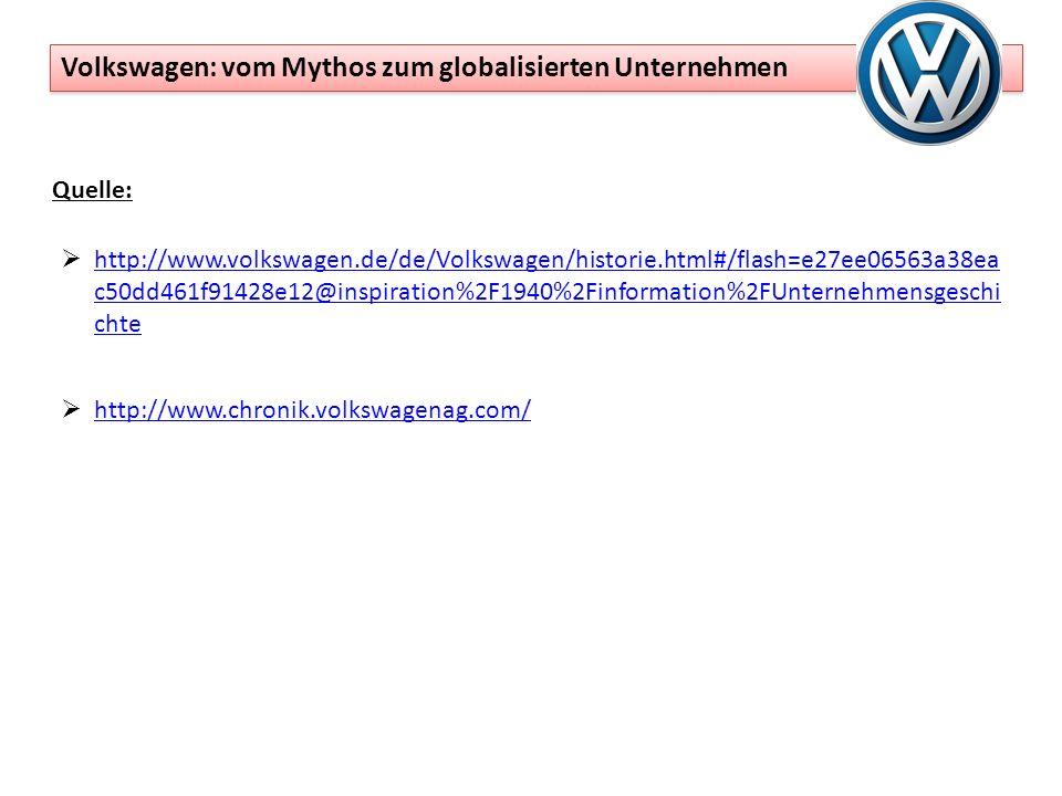 Quelle: http://www.volkswagen.de/de/Volkswagen/historie.html#/flash=e27ee06563a38ea c50dd461f91428e12@inspiration%2F1940%2Finformation%2FUnternehmensgeschi chte http://www.volkswagen.de/de/Volkswagen/historie.html#/flash=e27ee06563a38ea c50dd461f91428e12@inspiration%2F1940%2Finformation%2FUnternehmensgeschi chte http://www.chronik.volkswagenag.com/