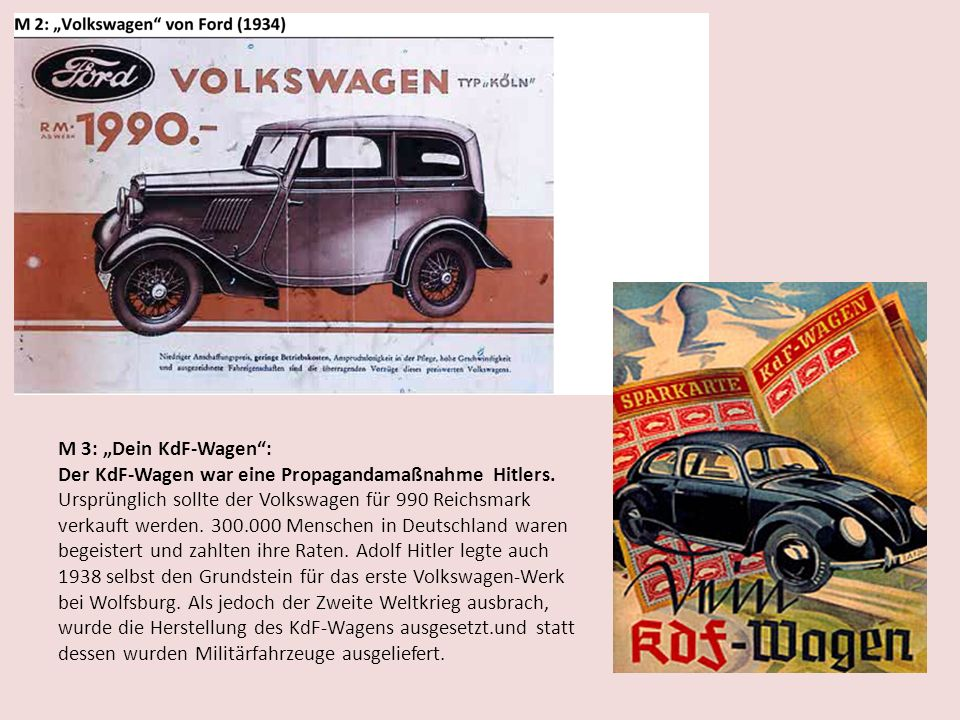 M 3: Dein KdF-Wagen: Der KdF-Wagen war eine Propagandamaßnahme Hitlers. Ursprünglich sollte der Volkswagen für 990 Reichsmark verkauft werden. 300.000