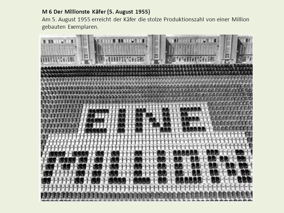 M 6 Der Millionste Käfer (5. August 1955) Am 5. August 1955 erreicht der Käfer die stolze Produktionszahl von einer Million gebauten Exemplaren.