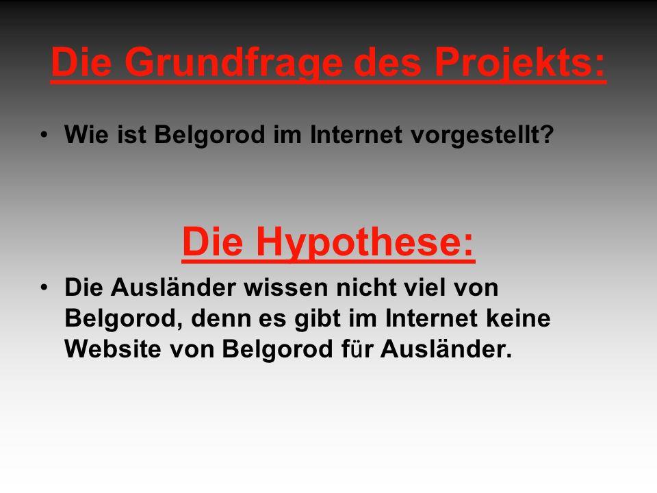 Die Grundfrage des Projekts: Wie ist Belgorod im Internet vorgestellt.