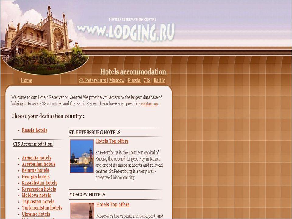 www.lodging.ru www.lodging.ru II.Auf dieser Webseite sind Hotels Russlands zu finden.
