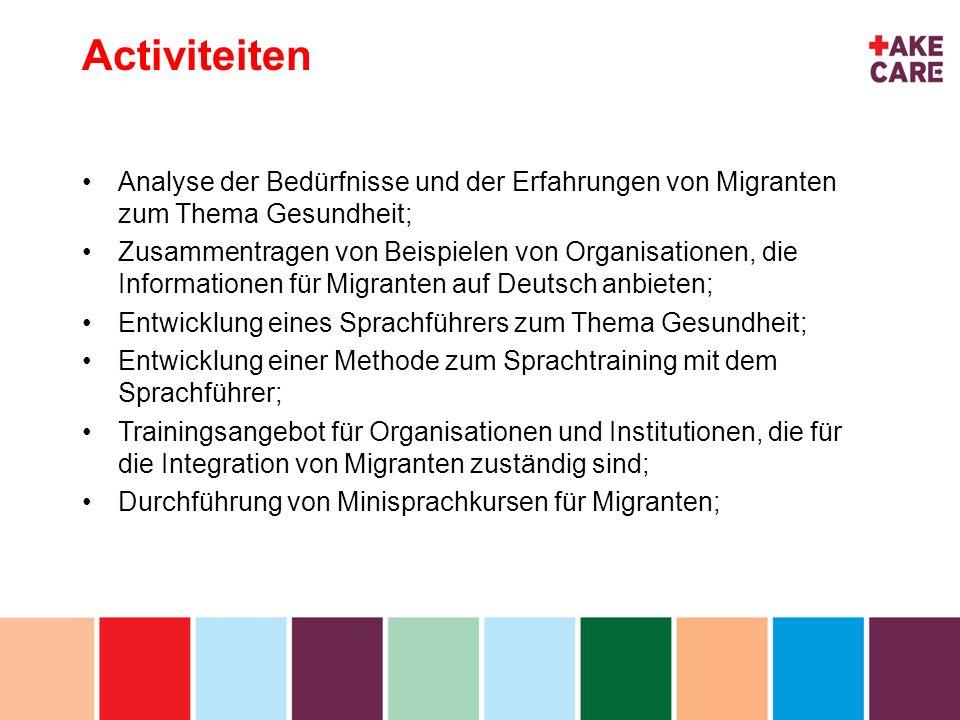 inhoud Hauptergebnisse Methodik zur Vermittlung von Sprachkenntnissen und Informationen zum Thema Gesundheit; Ein Sprachführer für Migranten zum Thema Gesundheit (Papierversion, digital und Webseite), der sprachliche Grundkenntnisse in 8 Sprachen enthält, ein medizinisches Glossar in 17 Sprachen, sowie einen medizinischen Wegweiser für Institutionen des Gesundheitswesens in Deutschland.