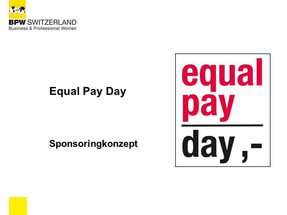 Equal Pay Day Sponsoringkonzept