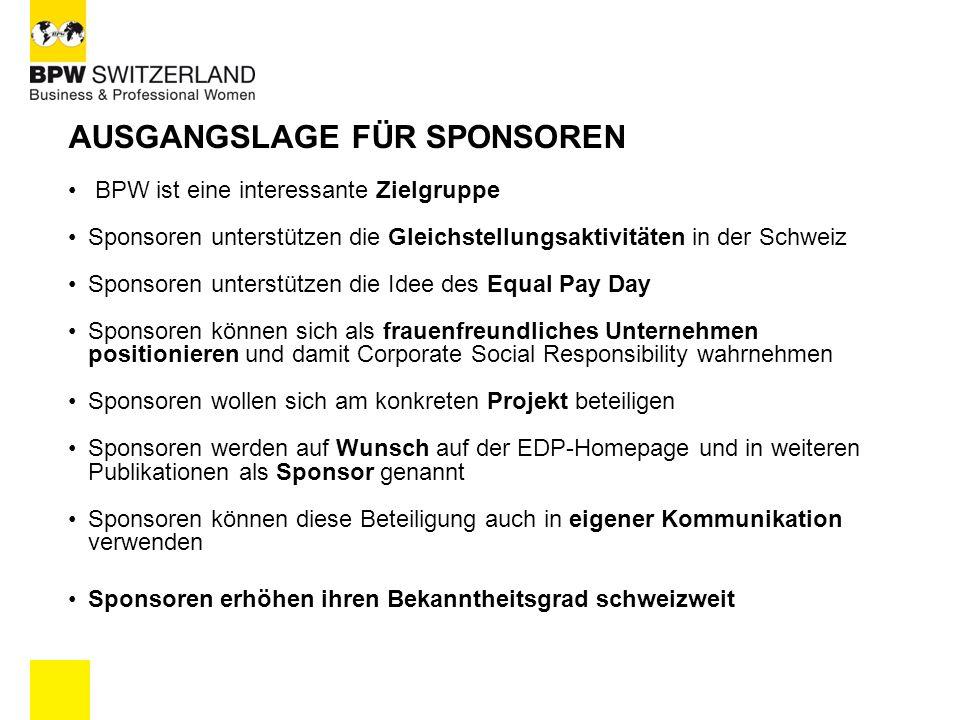 AUSGANGSLAGE FÜR SPONSOREN BPW ist eine interessante Zielgruppe Sponsoren unterstützen die Gleichstellungsaktivitäten in der Schweiz Sponsoren unterst