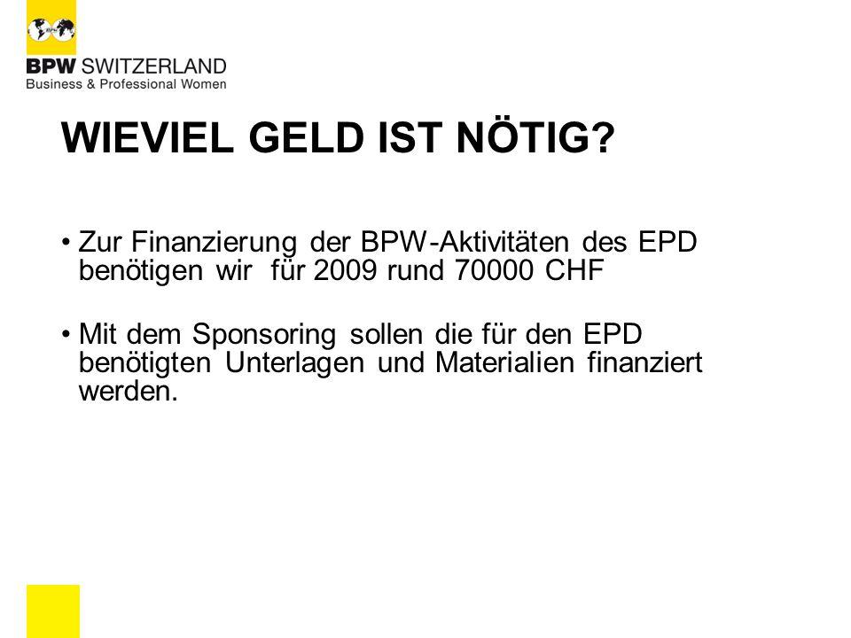WIEVIEL GELD IST NÖTIG? Zur Finanzierung der BPW-Aktivitäten des EPD benötigen wir für 2009 rund 70000 CHF Mit dem Sponsoring sollen die für den EPD b