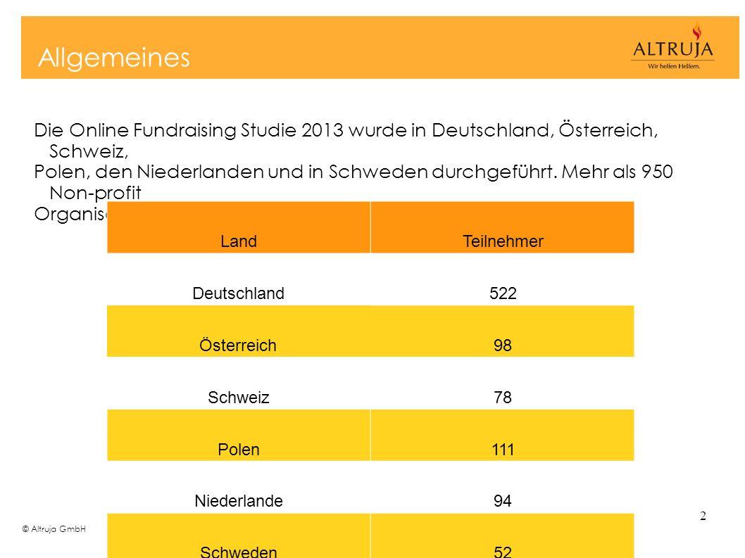 © Altruja GmbH 2 Allgemeines Die Online Fundraising Studie 2013 wurde in Deutschland, Österreich, Schweiz, Polen, den Niederlanden und in Schweden dur
