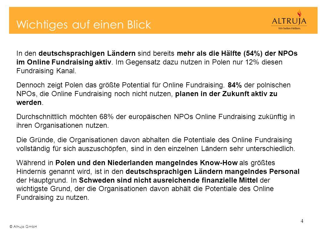 © Altruja GmbH 4 In den deutschsprachigen Ländern sind bereits mehr als die Hälfte (54%) der NPOs im Online Fundraising aktiv. Im Gegensatz dazu nutze