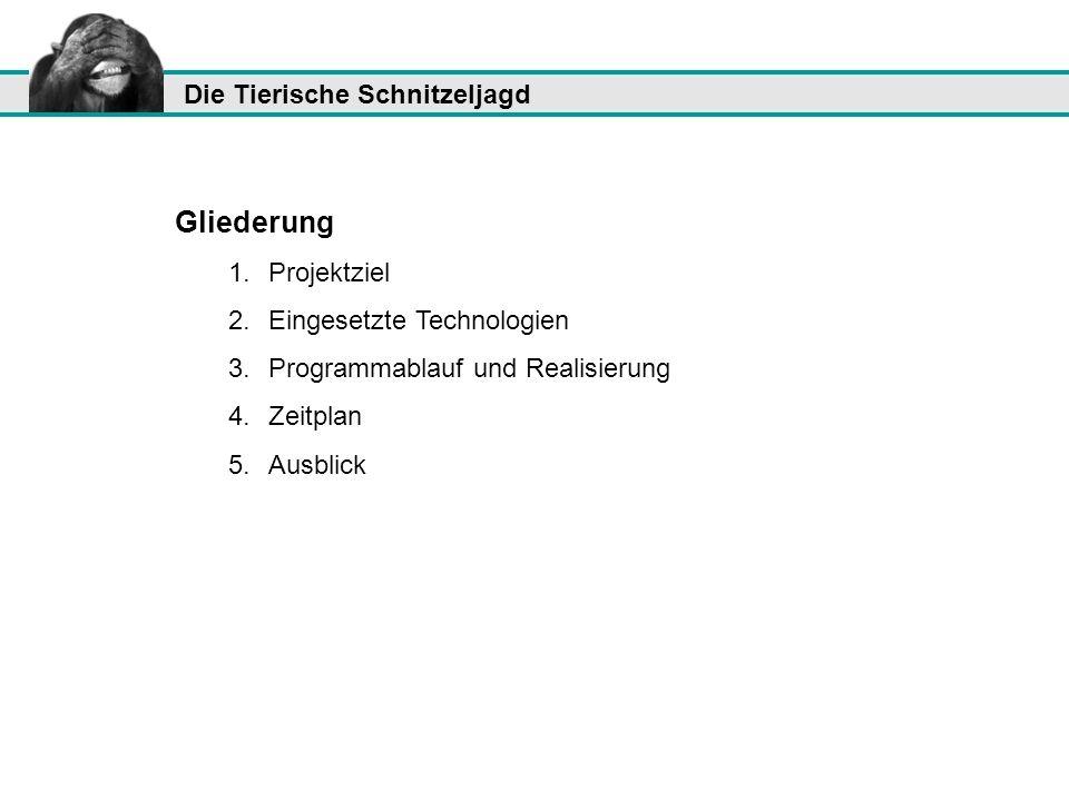 Die Tierische Schnitzeljagd Gliederung 1.Projektziel 2.Eingesetzte Technologien 3.Programmablauf und Realisierung 4.Zeitplan 5.Ausblick