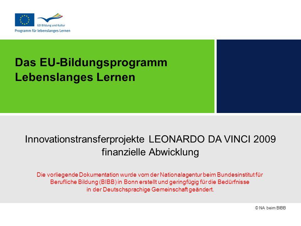© NA beim BIBB Das EU-Bildungsprogramm Lebenslanges Lernen Innovationstransferprojekte LEONARDO DA VINCI 2009 finanzielle Abwicklung Die vorliegende D