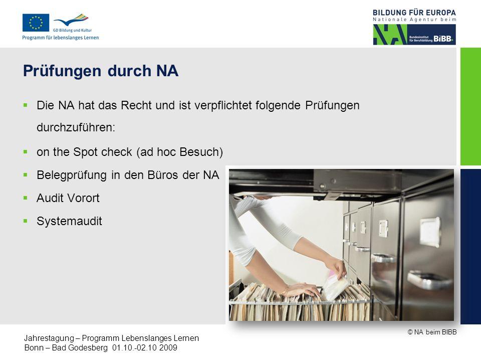 © NA beim BIBB Jahrestagung – Programm Lebenslanges Lernen Bonn – Bad Godesberg 01.10.-02.10 2009 Prüfungen durch NA Die NA hat das Recht und ist verp