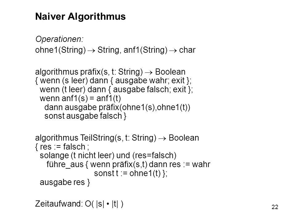 22 Naiver Algorithmus Operationen: ohne1(String) String, anf1(String) char algorithmus präfix(s, t: String) Boolean { wenn (s leer) dann { ausgabe wah