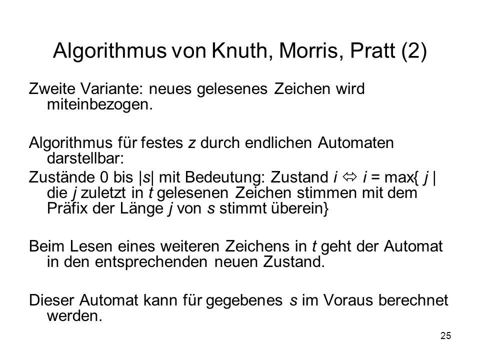 25 Algorithmus von Knuth, Morris, Pratt (2) Zweite Variante: neues gelesenes Zeichen wird miteinbezogen. Algorithmus für festes z durch endlichen Auto