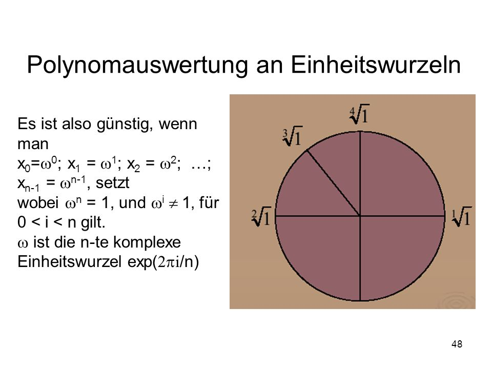 48 Polynomauswertung an Einheitswurzeln Es ist also günstig, wenn man Es x 0 = 0 ; x 1 = 1 ; x 2 = 2 ; …; x n-1 = n-1,,setzt wobei n = 1, und i i1 für