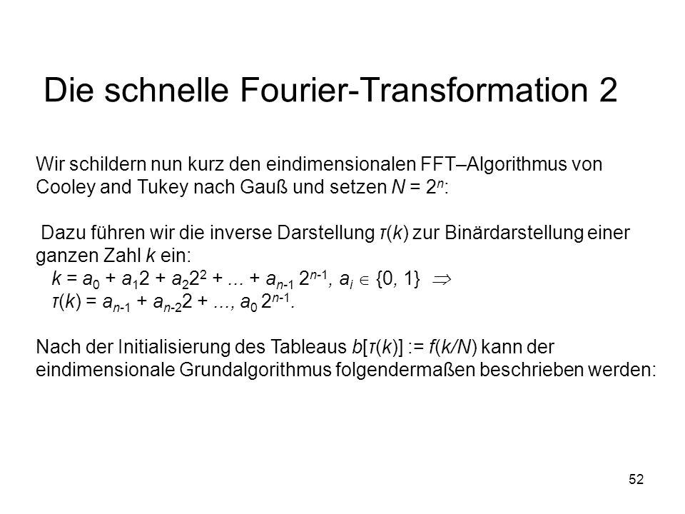 52 Die schnelle Fourier-Transformation 2 Wir schildern nun kurz den eindimensionalen FFT–Algorithmus von Cooley and Tukey nach Gauß und setzen N = 2 n