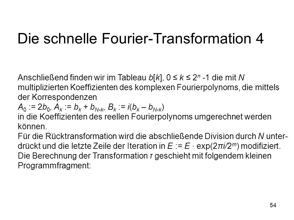 54 Die schnelle Fourier-Transformation 4 Anschließend finden wir im Tableau b[k], 0 k 2 n -1 die mit N multiplizierten Koeffizienten des komplexen Fou