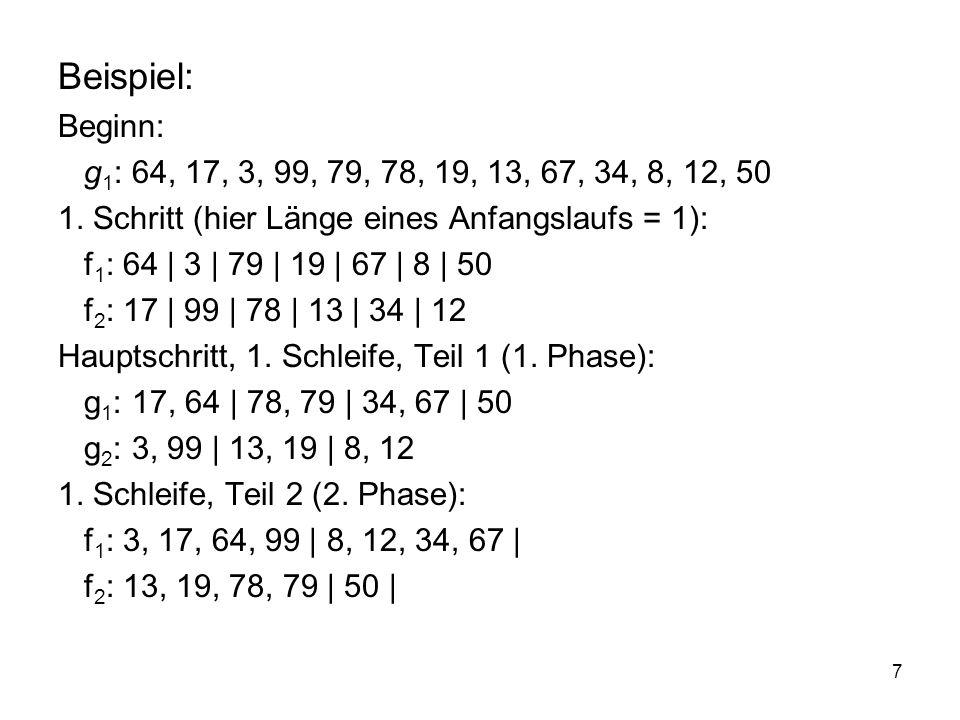 7 Beispiel: Beginn: g 1 : 64, 17, 3, 99, 79, 78, 19, 13, 67, 34, 8, 12, 50 1. Schritt (hier Länge eines Anfangslaufs = 1): f 1 : 64 | 3 | 79 | 19 | 67