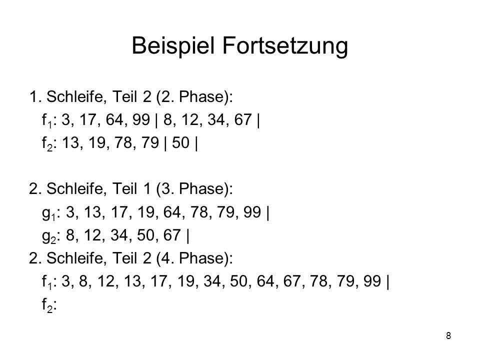 8 Beispiel Fortsetzung 1. Schleife, Teil 2 (2. Phase): f 1 : 3, 17, 64, 99 | 8, 12, 34, 67 | f 2 : 13, 19, 78, 79 | 50 | 2. Schleife, Teil 1 (3. Phase