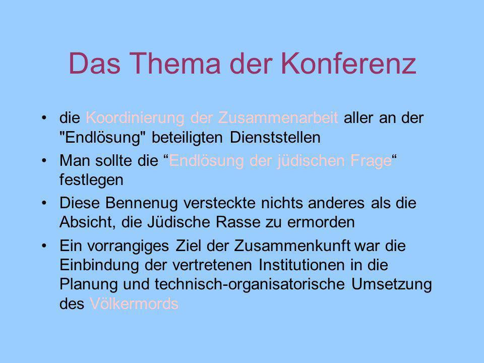 Das Thema der Konferenz die Koordinierung der Zusammenarbeit aller an der