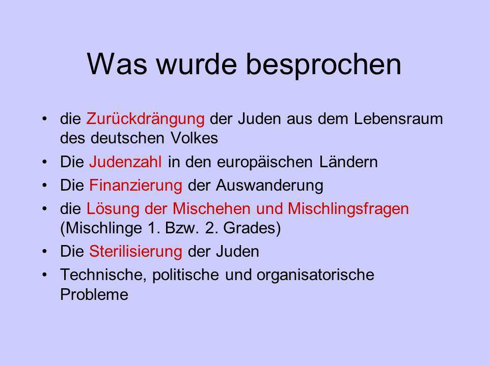 Was wurde besprochen die Zurückdrängung der Juden aus dem Lebensraum des deutschen Volkes Die Judenzahl in den europäischen Ländern Die Finanzierung d