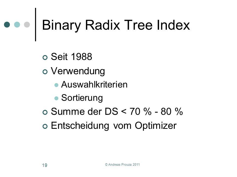 Binary Radix Tree Index Seit 1988 Verwendung Auswahlkriterien Sortierung Summe der DS < 70 % - 80 % Entscheidung vom Optimizer © Andreas Prouza 2011 1