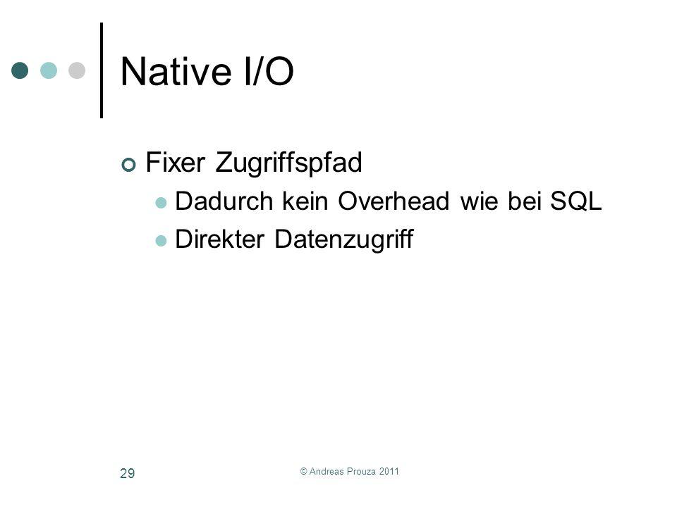 © Andreas Prouza 2011 29 Native I/O Fixer Zugriffspfad Dadurch kein Overhead wie bei SQL Direkter Datenzugriff