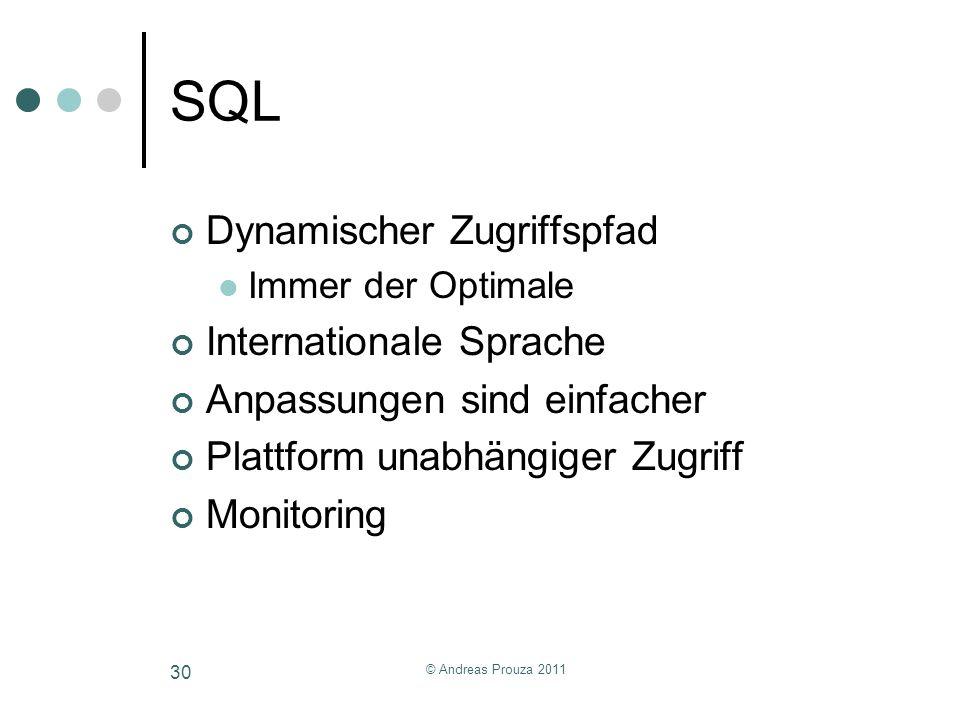 © Andreas Prouza 2011 30 SQL Dynamischer Zugriffspfad Immer der Optimale Internationale Sprache Anpassungen sind einfacher Plattform unabhängiger Zugr