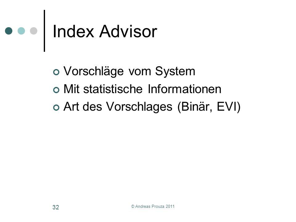 © Andreas Prouza 2011 32 Index Advisor Vorschläge vom System Mit statistische Informationen Art des Vorschlages (Binär, EVI)