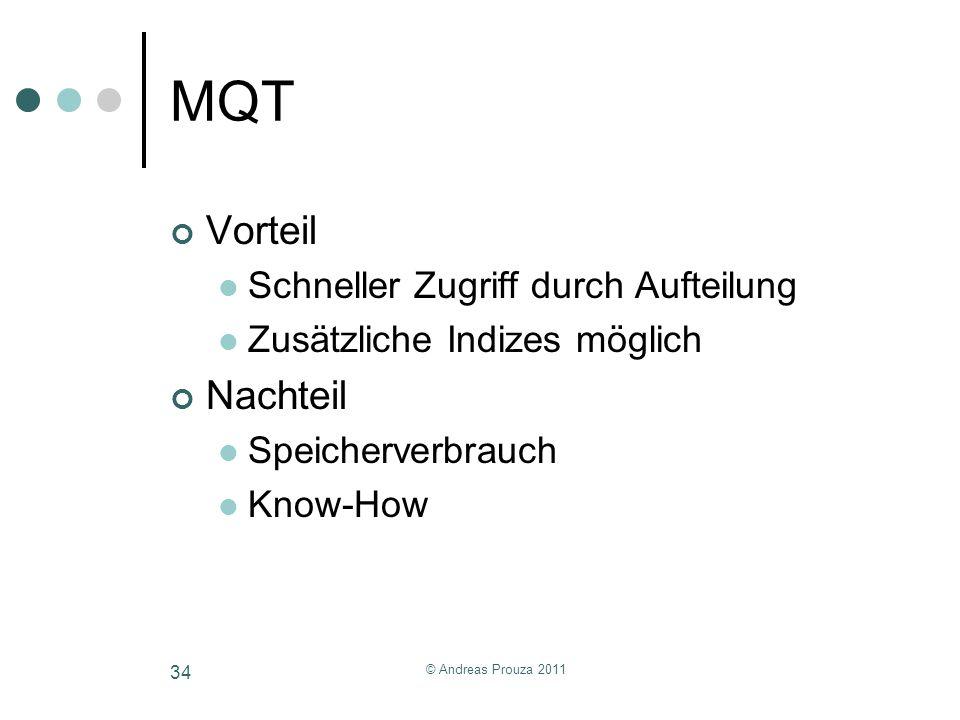 © Andreas Prouza 2011 34 MQT Vorteil Schneller Zugriff durch Aufteilung Zusätzliche Indizes möglich Nachteil Speicherverbrauch Know-How