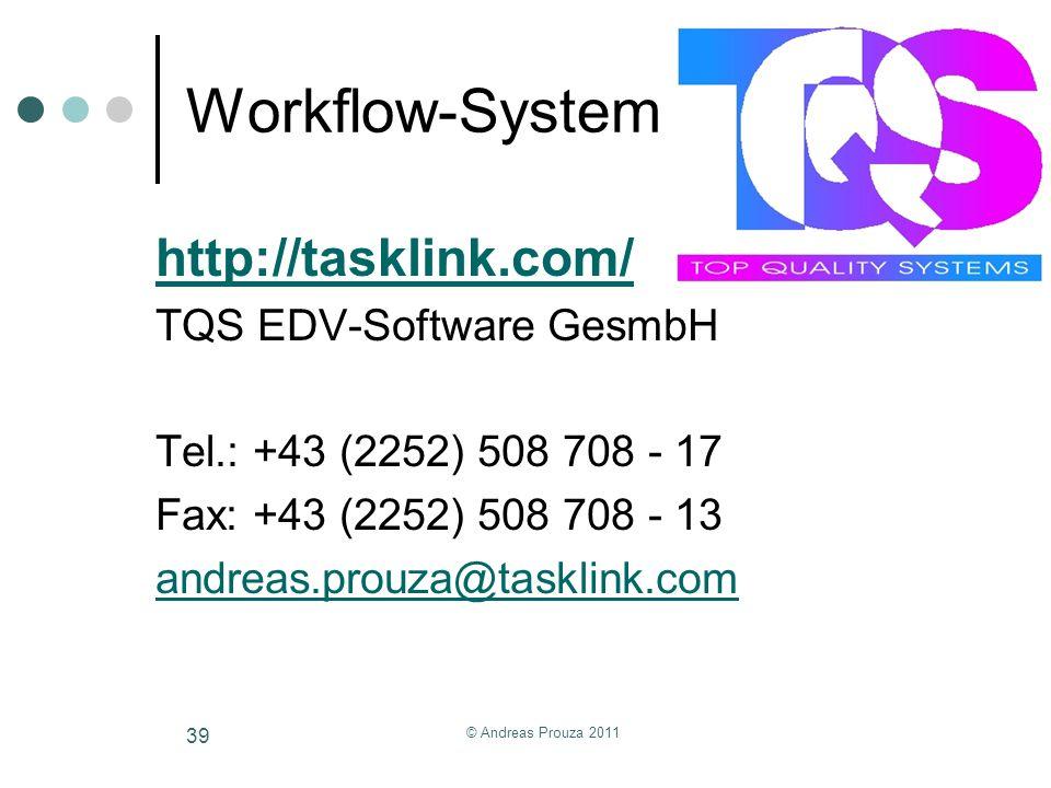 Workflow-System http://tasklink.com/ TQS EDV-Software GesmbH Tel.: +43 (2252) 508 708 - 17 Fax: +43 (2252) 508 708 - 13 andreas.prouza@tasklink.com ©