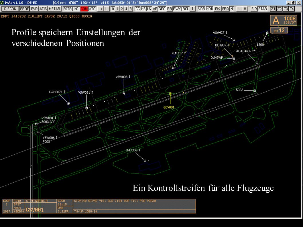 Profile speichern Einstellungen der verschiedenen Positionen Ein Kontrollstreifen für alle Flugzeuge