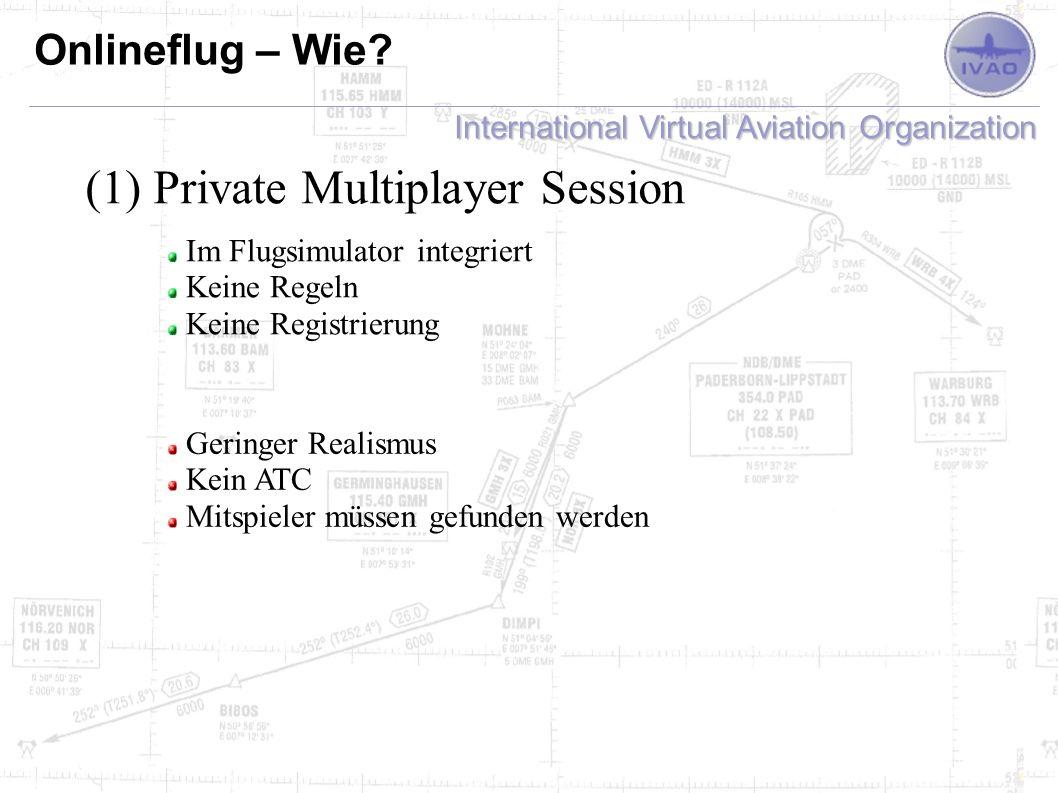 International Virtual Aviation Organization Onlineflug – Wie? (1) Private Multiplayer Session Im Flugsimulator integriert Keine Regeln Keine Registrie