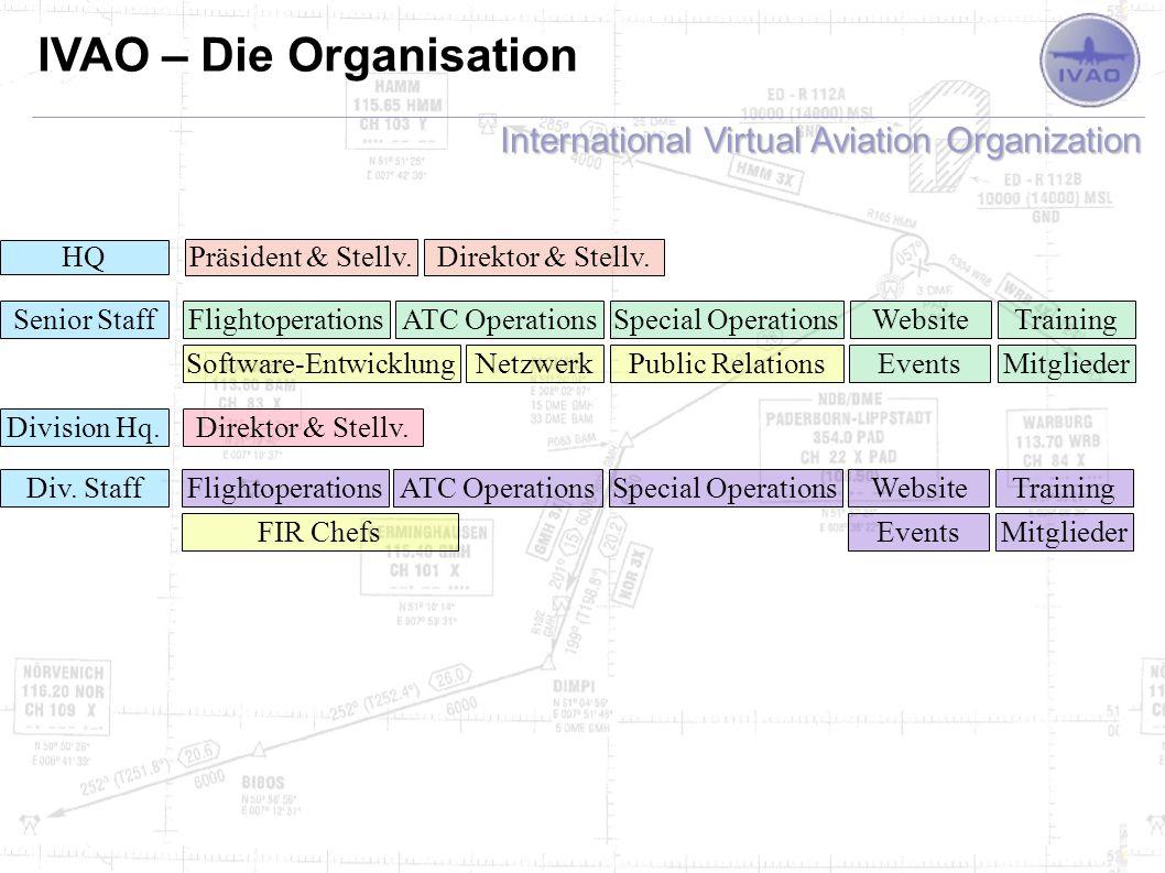 International Virtual Aviation Organization IVAO – Deutsche Division Mitarbeiter (Staff) Informationen Community Einteilung entsprechend Vorgaben von IVAO HQ Monatliche Besprechungen (1.