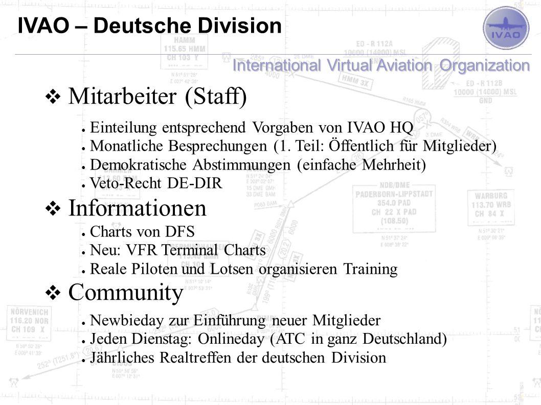 International Virtual Aviation Organization IVAO – Deutsche Division Mitarbeiter (Staff) Informationen Community Einteilung entsprechend Vorgaben von