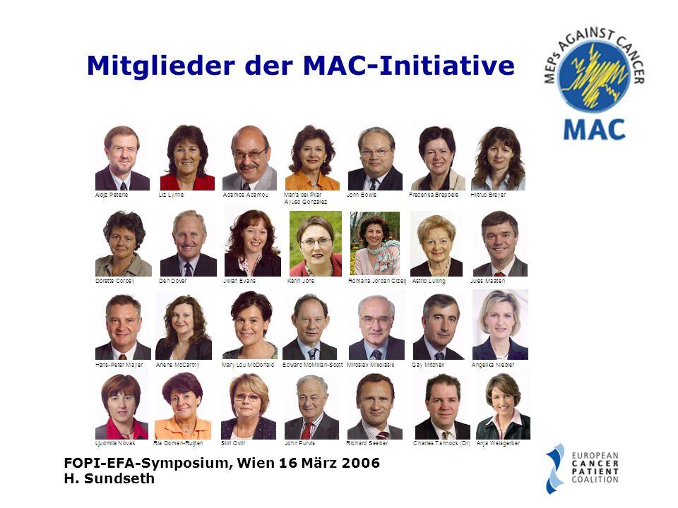 FOPI-EFA-Symposium, Wien 16 März 2006 H. Sundseth Mitglieder der MAC-Initiative