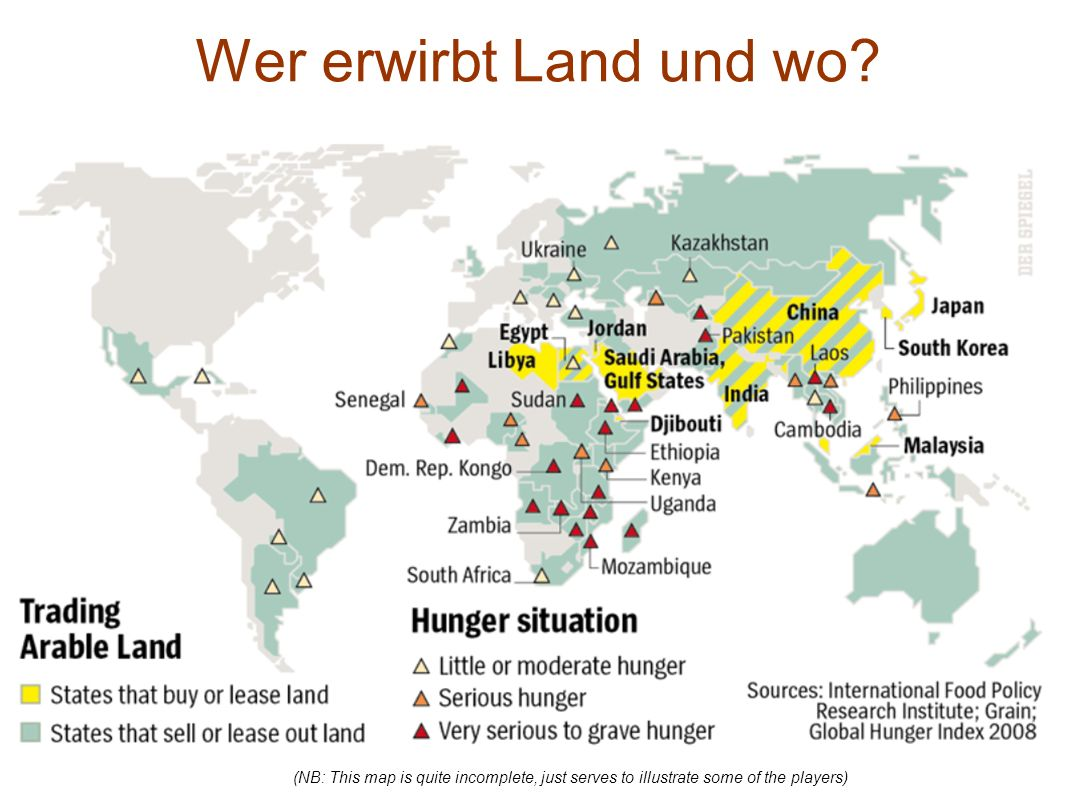 Wer erwirbt Land und wo? (NB: This map is quite incomplete, just serves to illustrate some of the players)