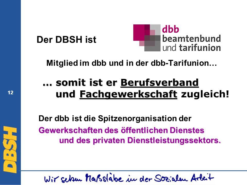 12 Der DBSH ist Mitglied im dbb und in der dbb-Tarifunion… Der dbb ist die Spitzenorganisation der Gewerkschaften des öffentlichen Dienstes und des pr