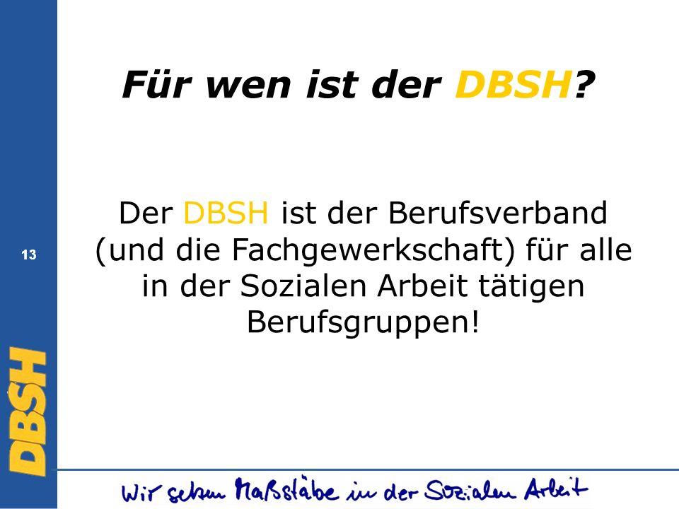 13 Für wen ist der DBSH? Der DBSH ist der Berufsverband (und die Fachgewerkschaft) für alle in der Sozialen Arbeit tätigen Berufsgruppen!